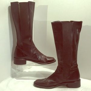 "Sesto Meucci knee high brn leather boots 1.5"" heel"